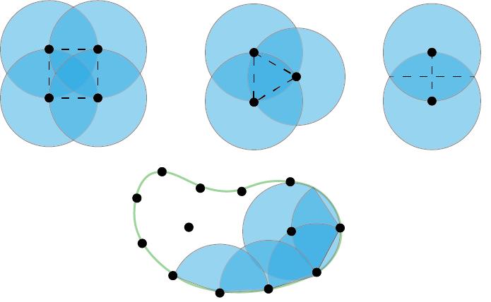 Tři základní spony postřikovačů - čtvercový,  trojúhelníkový a liniový.