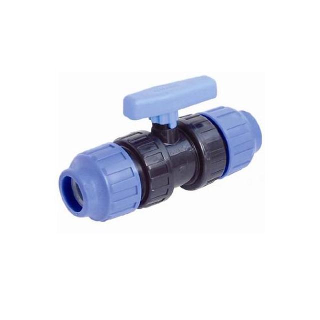 AQUAPLASTIK PP kulový kohout - svěrný spoj x svěrný spoj , PP kulový kohout - svěrný spoj x svěrný spoj 25mm