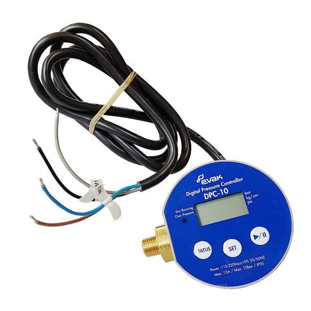 EVAK PUMPS DPC 10, digitální tlakový spínač, 230V/50Hz/12A, kabel 0,5m
